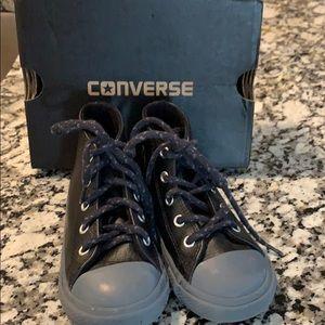 Little boys size 8 black leather converse